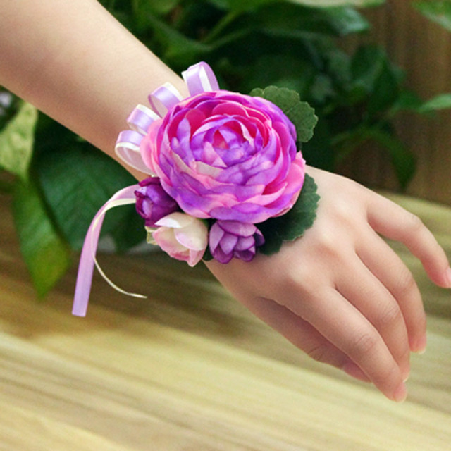 Handmate artificial diy wedding flowers party bride purple yellow handmate artificial diy wedding flowers party bride purple yellow wrist flowers bridesmaid corsages camellia rose decoration mightylinksfo