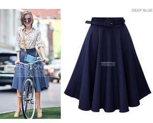 Image 4 - 2019 Autumn Winter Fashion Women Skirt Vintage Retro High Waist Pleated Midi Skirt Denim Flared Belt Skirt Saia Femininas SK098