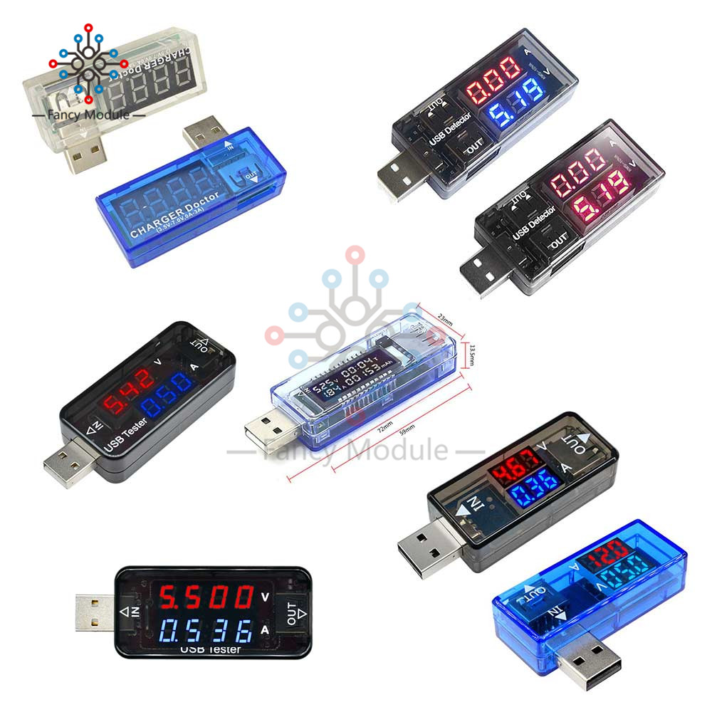 Diymore USB Digital Voltmeter Ammeter Current Voltage Meter Battery Energy Capacity Time Multifunction USB Power Detector Tester