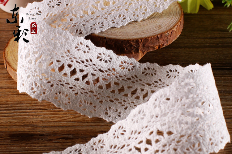 free shipping 10yardslot 4cm crocheted flower cotton white lace sofa diy accessories decoration trim ribbon lace fabric575