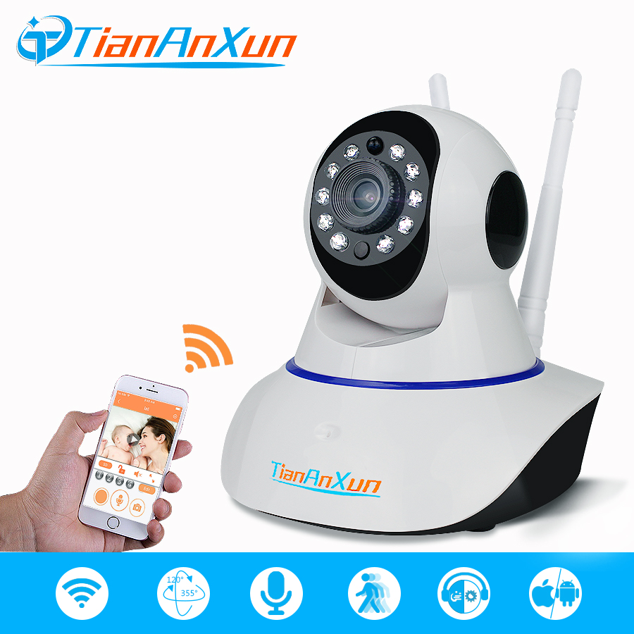 TIANANXUN Wireless IP Camera Home Security wifi Network HD Surveillance Smart Camera Audio Video Night Vision CCTV baby monitor hd 720p ip camera onvif black indoor dome webcam cctv infrared night vision security network smart home 1mp video surveillance