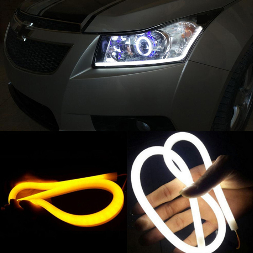 For Kia Cerato Sportage K2 K3 K5 Ford Focus 2 3 4 Fiesta Fusion Mondeo 2pc LED Car Flowing DRL Turn Signal Daytime Running Light