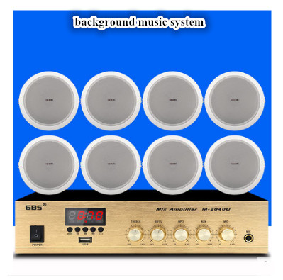 Power-Amplifier Ceiling-Speakers With 8pcs Contant Public Broadcasting-System Background