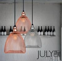 Scandinavian modern minimalist fashion droplight iron pendant lights bar restaurant mesh wire bird cage hanging lights bedroom