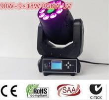 Caliente-venta 4 unids 90 W LED Spot gobo + 9×18 W RGBWA + UV 6in1 Luz Principal Móvil de lavado/EE.UU. Luminums 90 W LED dmx DJ Spot luz
