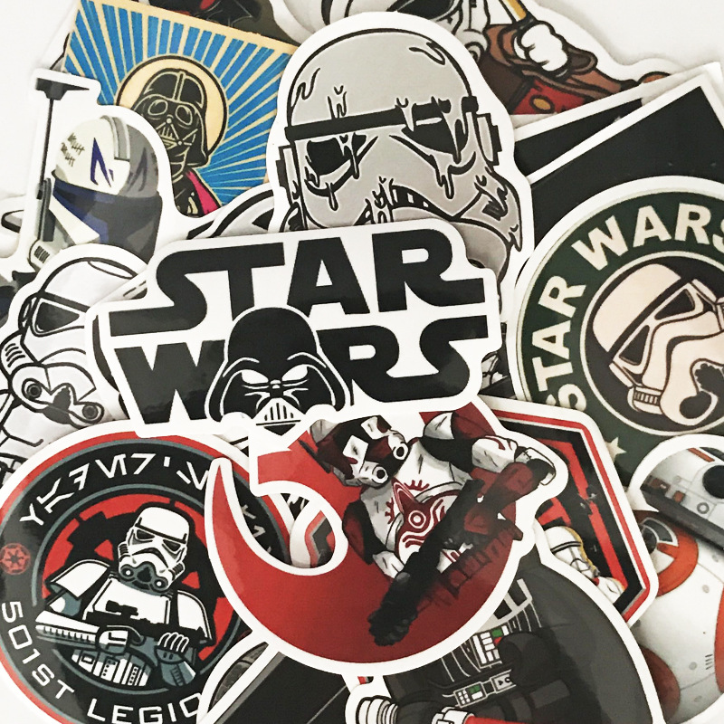 25pcs Star Wars Cartoon Sticker Cool DIY Doodle Waterproof Stickers PVC Creative Decal Toys For Laptop Luggage Bags Car Styling