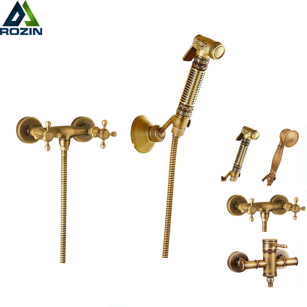 Wall Mounted Brass Bidet Mixer Faucet Toilet Sprayer Tap Antique Bathroom Mop Cleaning Tap Handheld Shower Set new shower faucet set bathroom faucet chrome finish mixer tap w abs handheld shower wall mounted