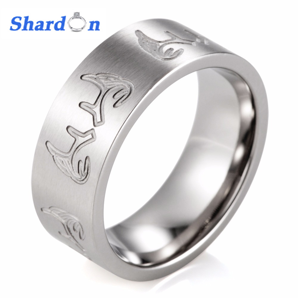 SHARDON engagement Rings trendy 8MM Titanium Carved Deer Antlers Outdoor Hunting Wedding Band With Stain Finishing