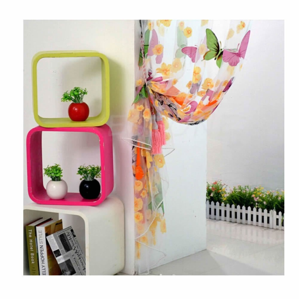 Free shipping Hot 90*200cm Butterfly Sheer Voile Curtain Panel Window Patio Room Divider New