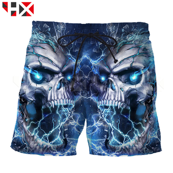 HX Summer New Grim Reaper Men Shorts 3D Printed Grim Reaper Skull Unisex Skull Head Casual Harajuku Streetwear Style Shorts A506 1