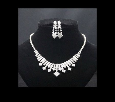 A023 New Rhinestone Crystal Neckace earrings Jewelry sets For Women Wedding Gifts Wholesale O-QYX1019-11 ABC