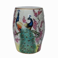 Beautiful Chinese Ceramic Peacock Stools Seat For Indoor Home Decoration