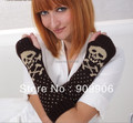 2014 Lady Women's Cartoon Skull Knitting Acrylic Arm Sleeve Warm Warmer Gloves Outdoor Sports Gloves Autumn Winter