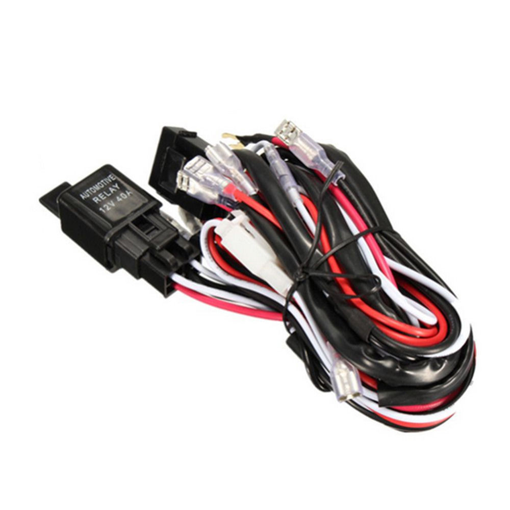 12v 24v 300w Led Light Bar Work Wiring Harness 40 Amp Relay On Heat Tape Together With Rocker Switch 12 Blue Laser Off Fuse Atv New Loom Kit