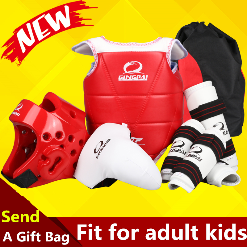 Full set of Taekwondo Brand protector MMA Karate sport shin&arm protector helmet body crotch protector free bag taekwondo protective gear set wtf hand chest protector foot shin arm groin guard helmet 8pcs children adult taekwondo karate set