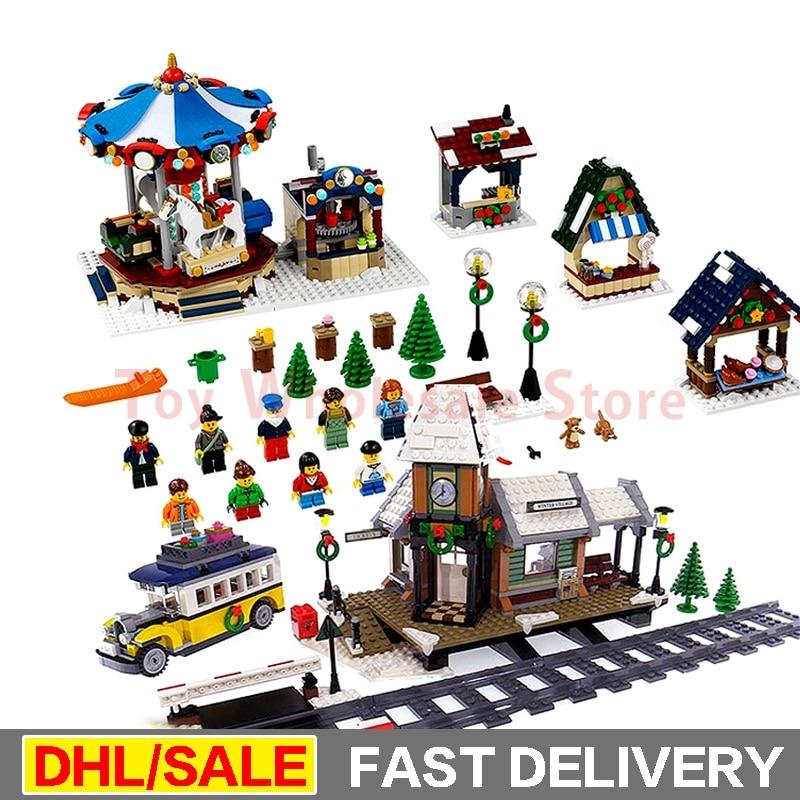 Lepin 36010 Winter Village Market + Lepin 36011 Winter Village Station Building Blocks Bricks Educational Toys Gift Clone 10235 lepin 36010 l hiver village marche ensemble assemblage1412pcs 10235 blocs de construction briques jouets educatifs cadeaux