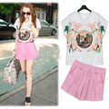 Europe 2017 new summer suits the big European and American Printing chiffon shirt pink shorts two piece female F196