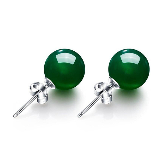 Ruifan 8mm Round Natural Red/Green Agate Small Stud Earrings for Women 925 Sterling Silver Earring Girl 2019 Jewelry YEA119