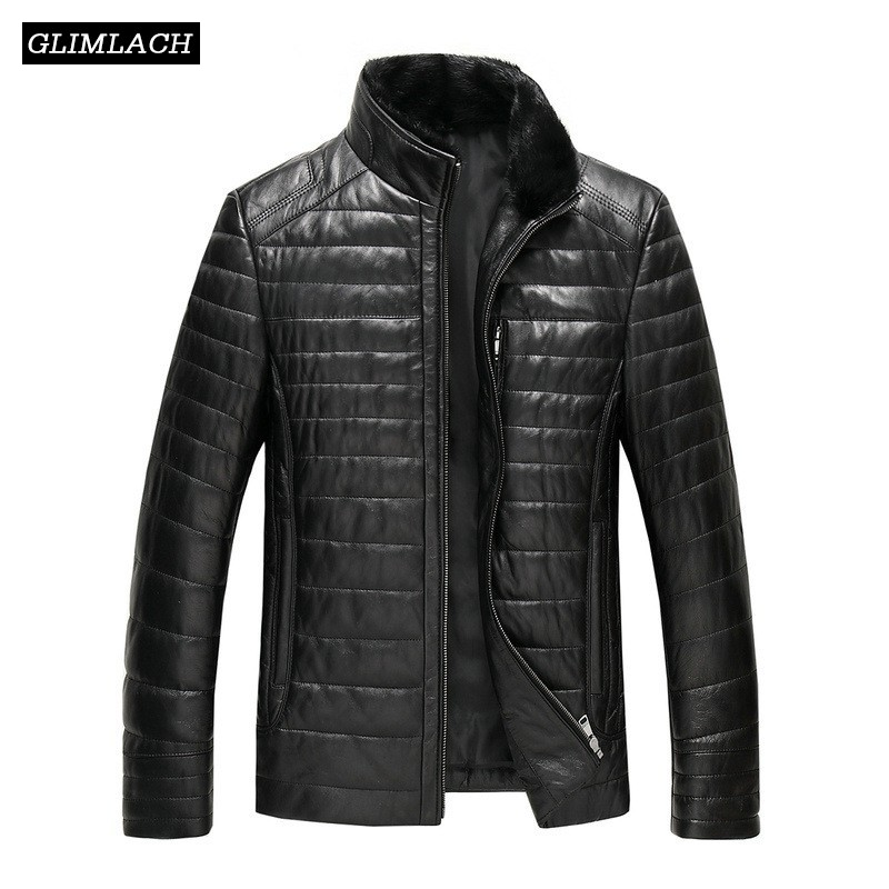 New Plus Size 5XL Mink Fur Collar Sheepskin Real Leather Down Coat Men Winter Thick Warm Genuine Leather Jacket Casual Overcoat