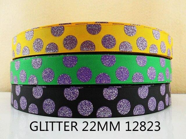 7/8 «(22 мм) блеск точка печатается Grosgrain ленты DIY головные уборы лента и лук аксессуары для одежды, свадебная подарочная упаковка, 50Yc1525