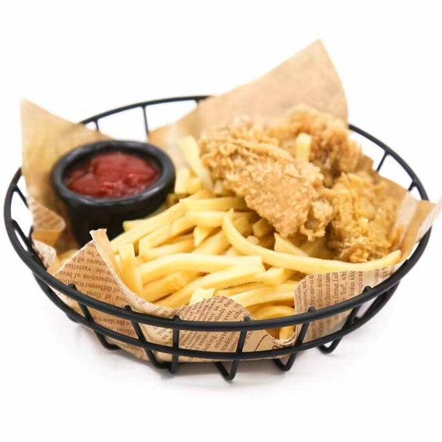 black iron rounded serving basket fast food basket hotel tableware