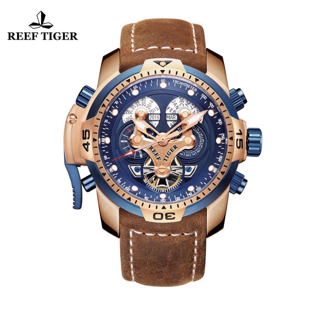 Reef Tiger/RT бренд военные часы для мужчин розовое золото синий циферблат коричневый кожаный ремешок автоматические часы Relogio Masculino RGA3503
