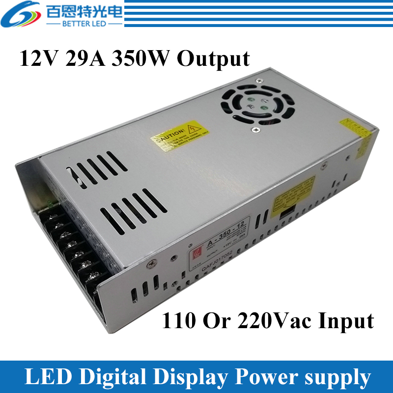 With Fan 110/220Vac Input, 12Vdc 29A 350W Output LED Digital Display Power Supply