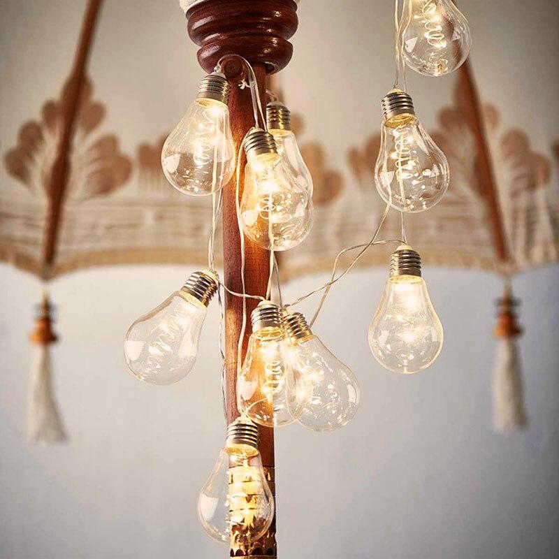 10 Led Copper String Bulbs Retro Vintage Lamp 4M Fairy Festoon Holiday String Lights Wedding Christmas Party Garden Home Decor
