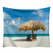 New Tapestry Wall Hanging Polyester Seaside Landscape Pattern Blanket Tapestry Home Decoration Art fire and water butterfly pattern wall art tapestry