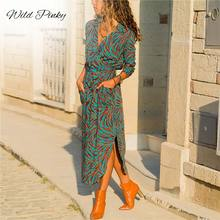 WildPinky Long Sleeve Shirt Dress 2019 Summer Boho Beach Dresses Women Casual Striped Print A-line Midi Party Vestidos