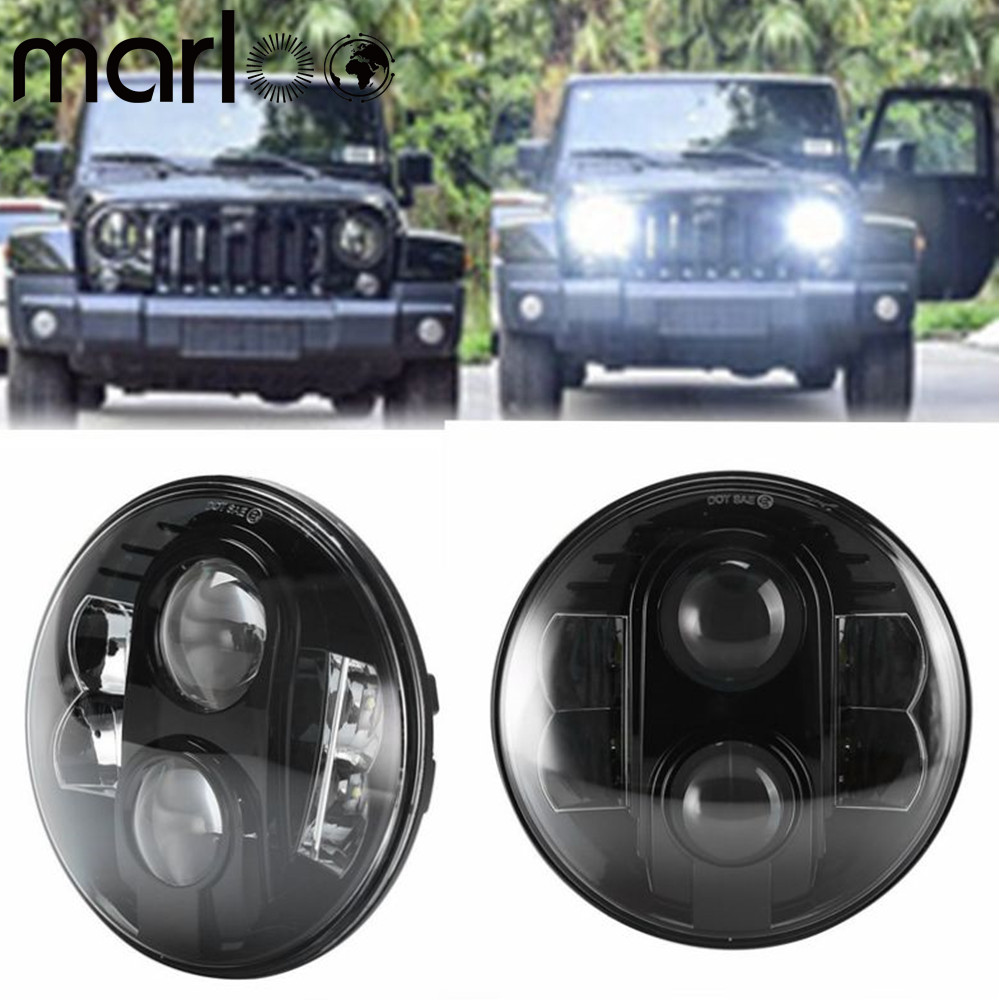 Marloo 80W DOT 7 Inch Round Headlights Black Kit Hi/Low Beam DRL Projection Led Headlamps For Jeep Wrangler Jk TJ Hummer