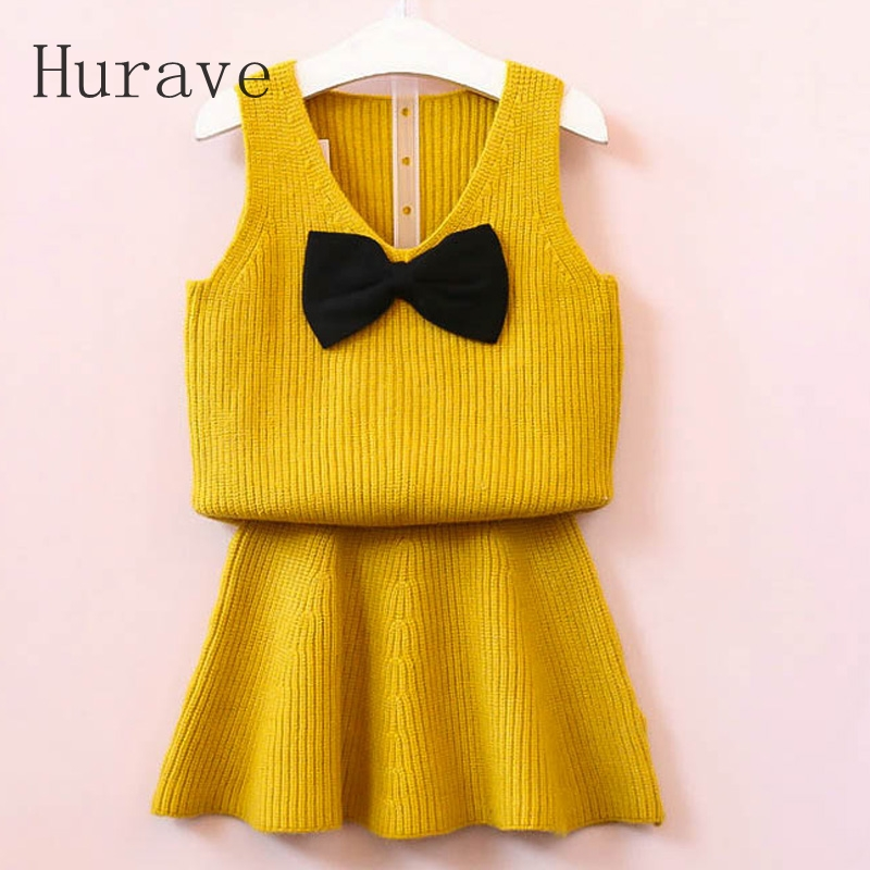 Hurave Baby Girls Clothes 2017 Autumn Baby Clothing Sets V Neck Sweater Bow Shirt+ Knitted Dress for Winter Clothes C2L4 autumn winter girls children sets clothing long sleeve o neck pullover cartoon dog sweater short pant suit sets for cute girls