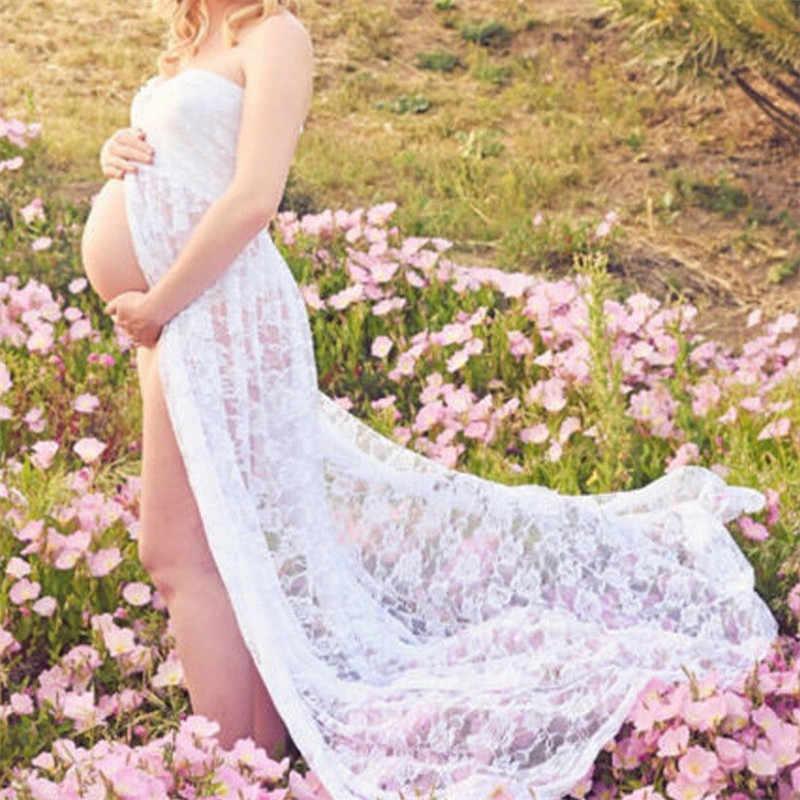 96286077c Venta caliente maternidad fotografía Props encaje elástico embarazo largo  Vestido de maternidad para sesión de fotos