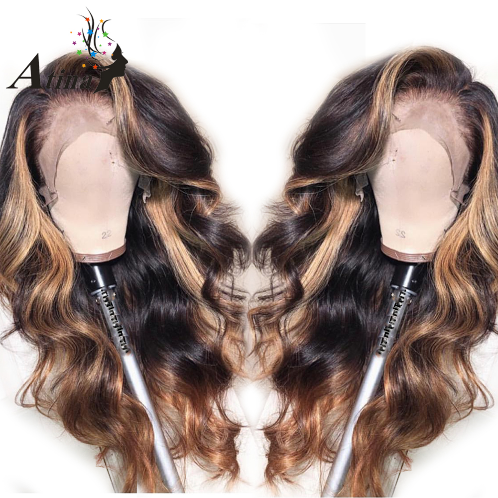 Honey Blonde Colored Ombre Invisible Highlight 360 Lace Frontal Human Hair Closure Wigs PrePlucked Baby HairWavy Brazilian Remy