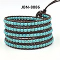 2017 new fashion 5 multilayer bracelet lovely Bracelets turquoise beads on Leather Bracelets men and women Jewelry