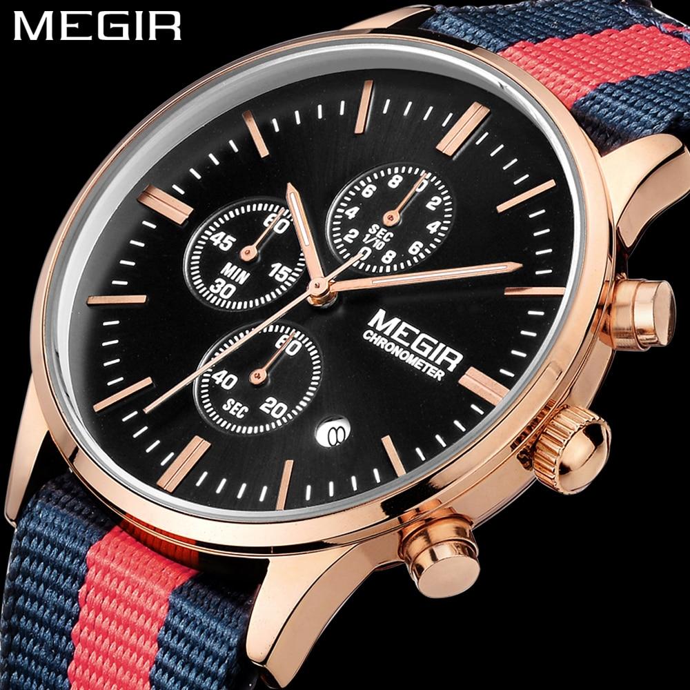 1f556b66454 MEGIR Moda Unissex relógio de Quartzo dos homens Banda Nylon relógio  Cronógrafo Mens Relógios Top Marca de Luxo homens Relógio de Pulso relogio  masculino em ...