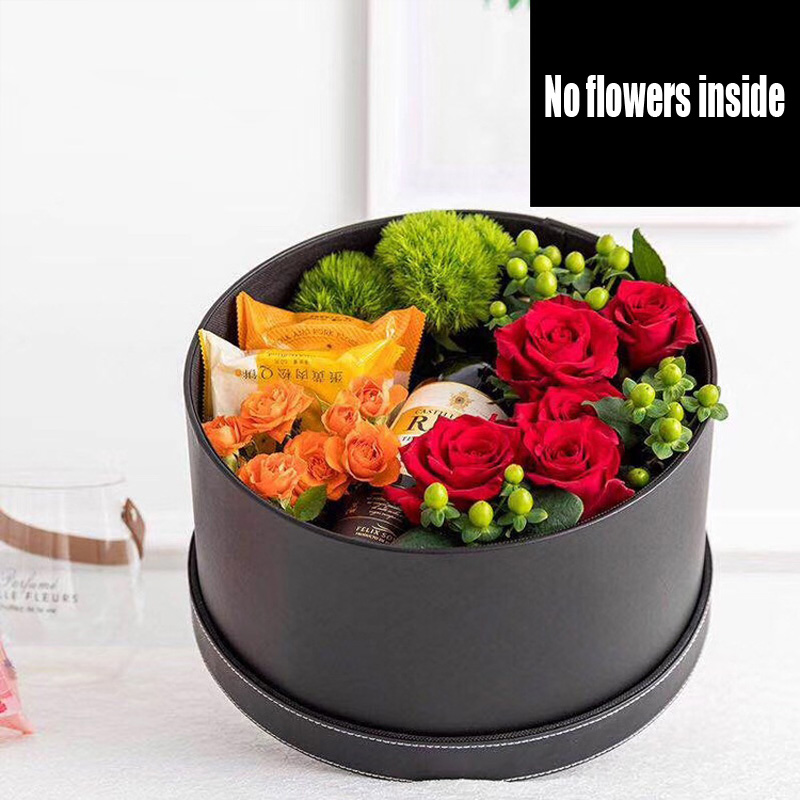 New round leather flowers gift box hat storage packaging box flower shop household goods packaging
