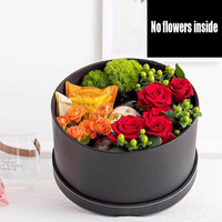 WFL021PZ round leather flowers gift box hat storage packaging box flower shop household goods packaging