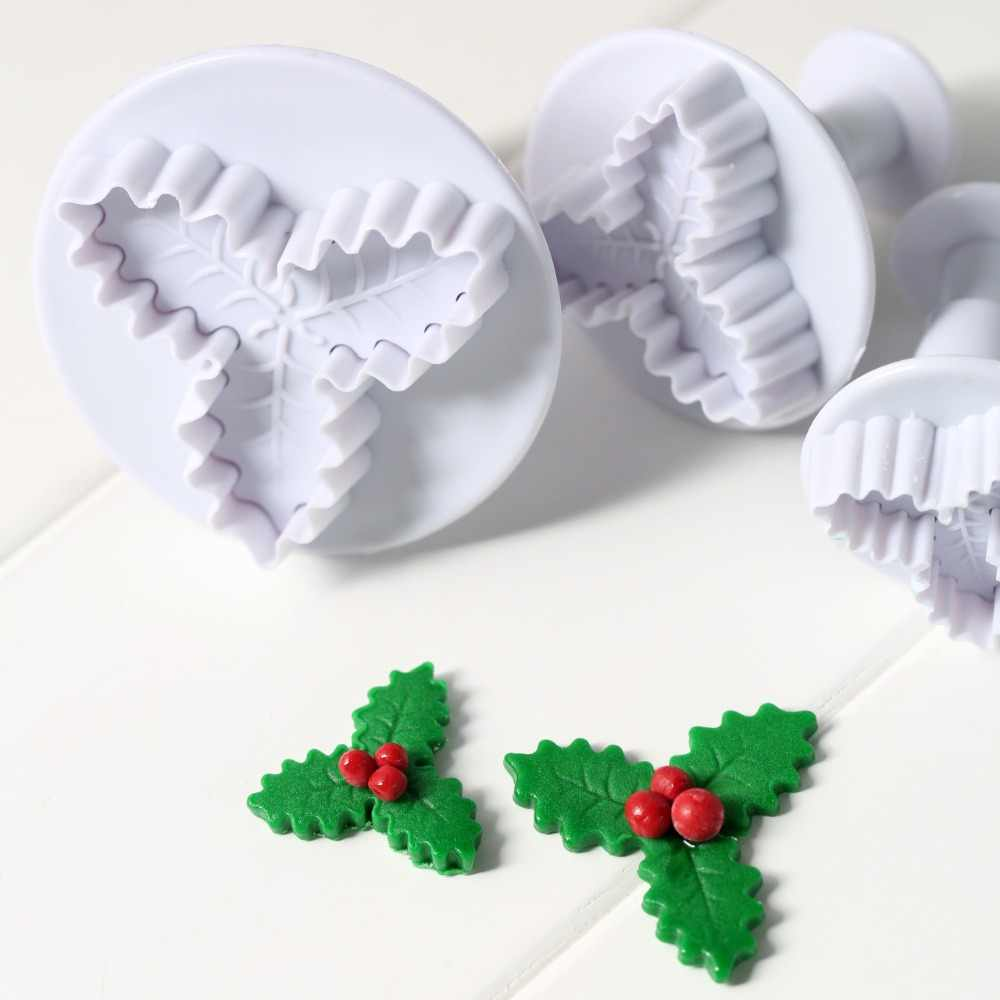 2PCS Plastic Cookies Biscuit Baking Craft Tool Holly Leaf Decor Sugarcraft Mold
