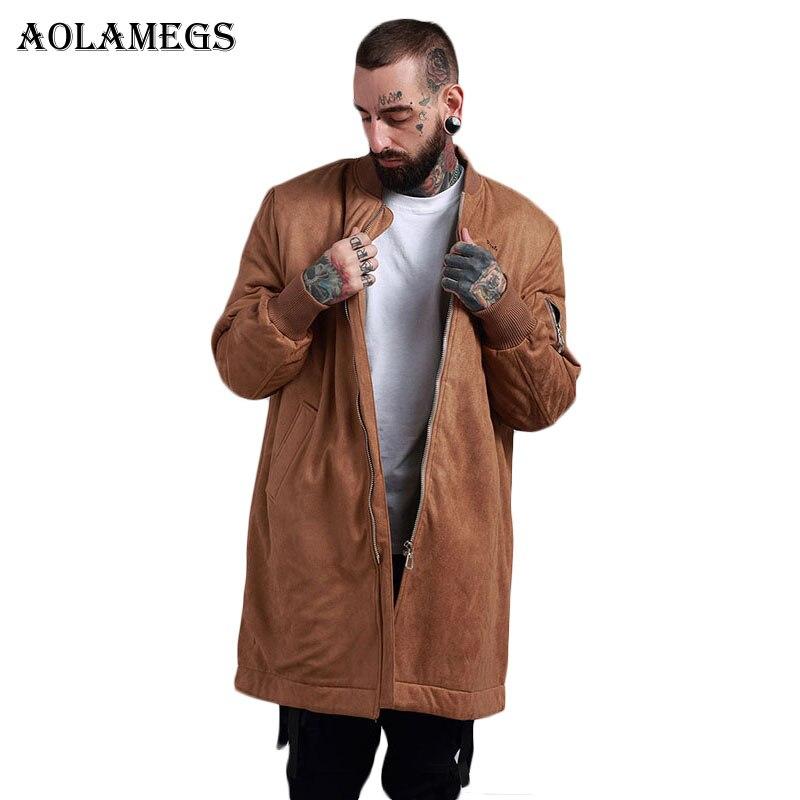 Erkek Kıyafeti'ten Ceketler'de Aolamegs Bombacı Ceket Erkekler Katı Kalın Süet Uzun erkek Ceket Hip Hop Moda Dış Giyim Sonbahar Erkek Ceket Bomba beyzbol ceketleri'da  Grup 1