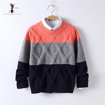 #Sale #KungFuAnt Patchwork Pattern Casual Style Autumn Knitted Boys #Sweaters for Hot Students 5T-12T Woolen Clothes M1511 1