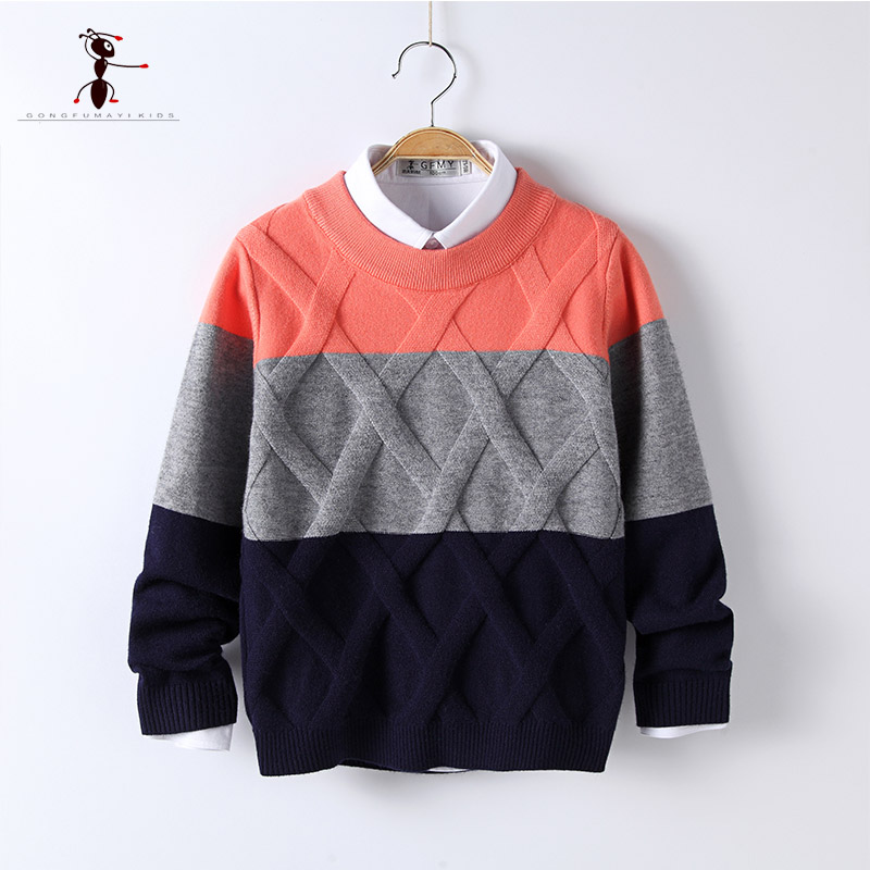 Kung Fu Ant Patchwork Pattern Casual Style Autumn Knitted Boys Sweaters for Hot Students 5T-12T Woolen Clothes M1511Kung Fu Ant Patchwork Pattern Casual Style Autumn Knitted Boys Sweaters for Hot Students 5T-12T Woolen Clothes M1511