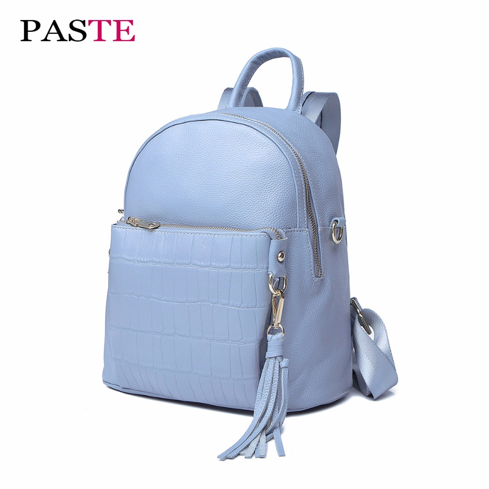PASTE New Fashion Alligator High Quality Women Backpack Genuine Leather Luxury Designer Luggage Laptop Tieguanyin Mini Back Pack high quality pneumatic paste