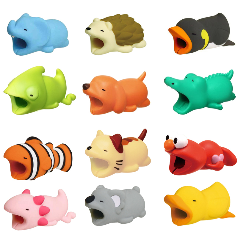 Cable Bite Cute Animal Protector For Apple iPhone Winder Phone Holder Accessory Chompers Funny Rabbit Dog Cat