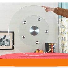 HQ GL02 обновление более стабильный двухслойный закаленное стекло ленивый Susan стеклянный обеденный стол, поворачивающийся шарнир пластины