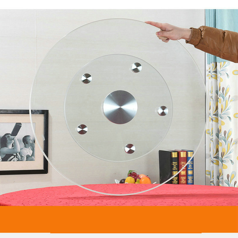 HQ GL02 MISE À NIVEAU Plus Stable couche double verre trempé Paresseux Susan table en verre Top Platine Plaque Pivotante
