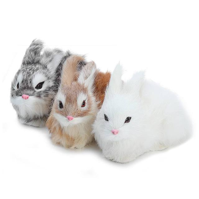Artificial Rabbit Ornament Crouching Animals Models Handmade Realistic Dolls Stuffed Plush Toy Home decoration Gift for kids 5