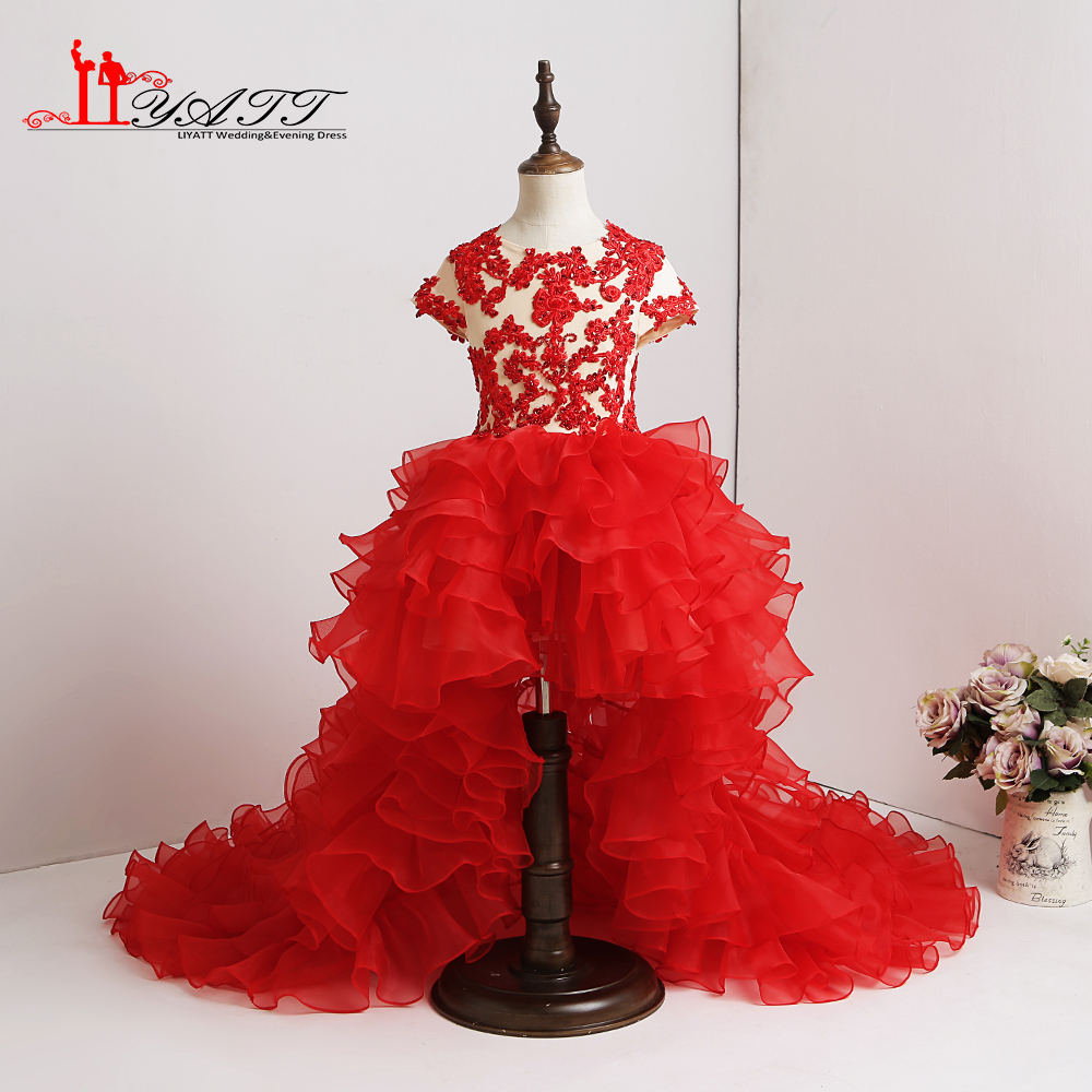 2018 New   Flower     Girl     Dress   Red Appliques Amazing Short Sleeves Hi-Low High Quality Lace Ball Gown Custom Made   Girls   Party Gown
