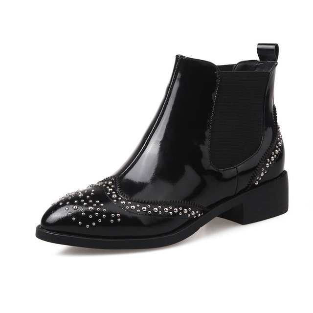 Women Ankle Boots Designer Spring Autumn Shoes Woman Patent Leather Rivets Footwear Slip On Pointed Toe Winter Boots Big Size 42
