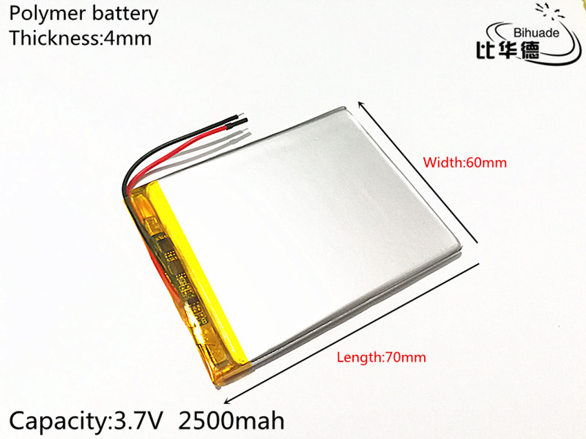 Free shipping 1pcs/lot 3.7V 2500mAh <font><b>406070</b></font> Lithium Polymer LiPo Rechargeable Battery cells For PAD GPS PSP Vedio image